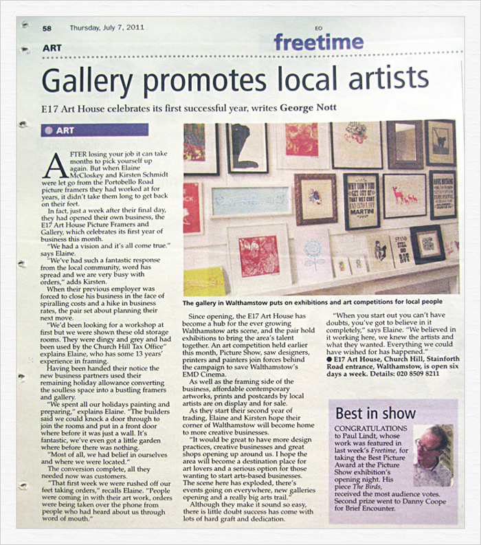 East London Gallery News Article E17